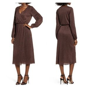 Nordstrom All In Favor Brown Wrap Midi Dress NWT L